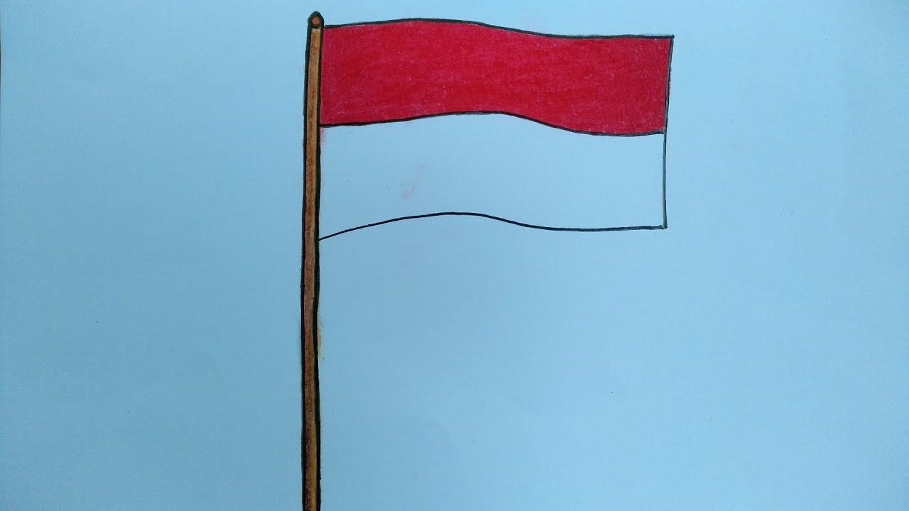 Menggambar Bendera Merah Putih Cara Menggambar Dan Mewarnai Bendera Youtube