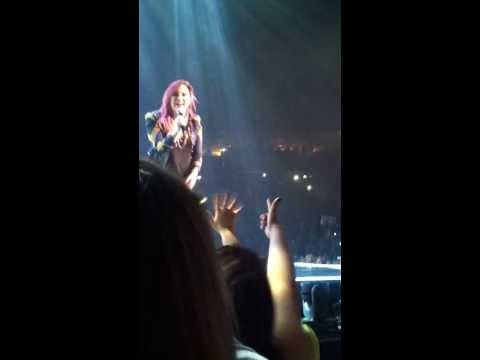 Demi Lovato before little girl goes on stage -Neon Lights Tour- Omaha 2014