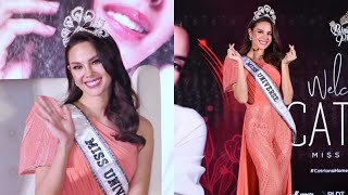 Catriona Gray stuns in coral Filipiniana jumpsuit during homecoming presscon