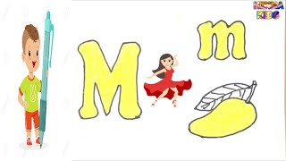 Learn Letters M and Draw Mango ✅Coloring and Drawing Learn Colors for kids ✅HinHa Kids