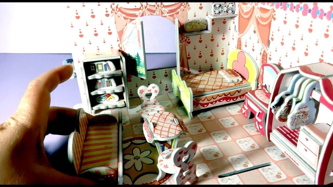 Miniature Dollhouse Bedroom Furniture Lets Put Together Diy Miniature Bedroom Dollhouse 3d Puzzle Youtube