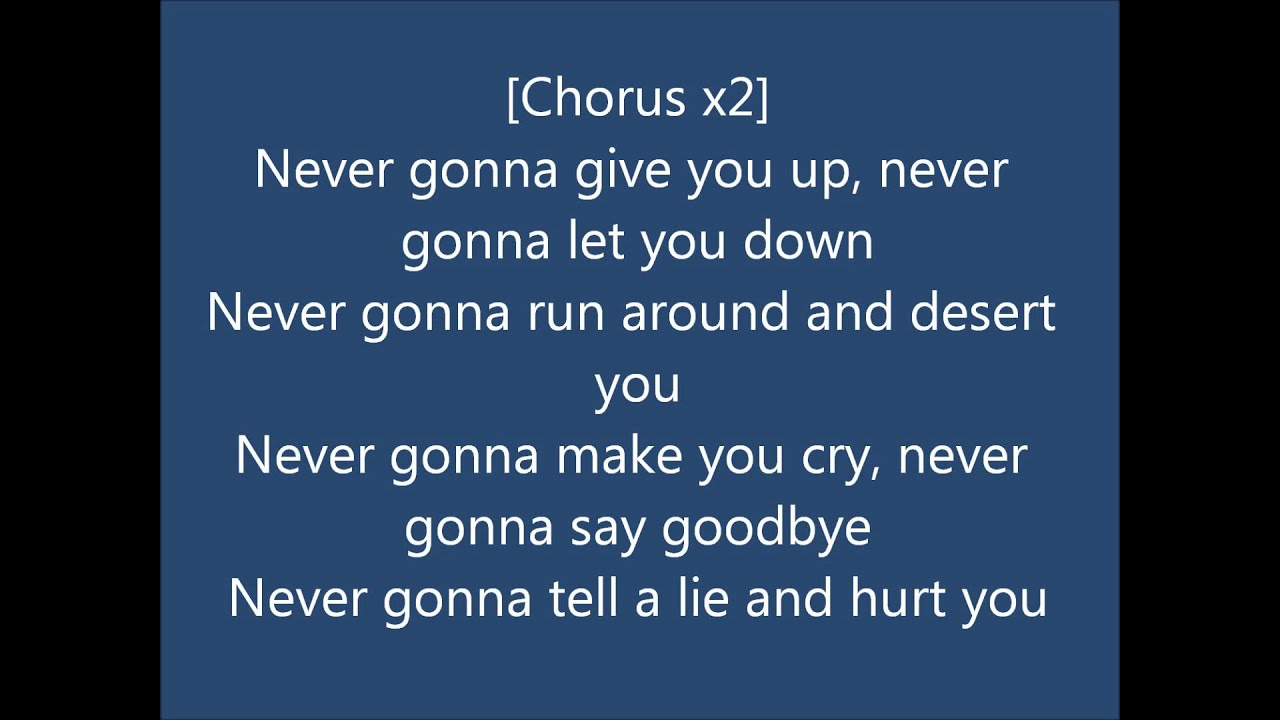 lyrics rick astley never gonna give you up youtube