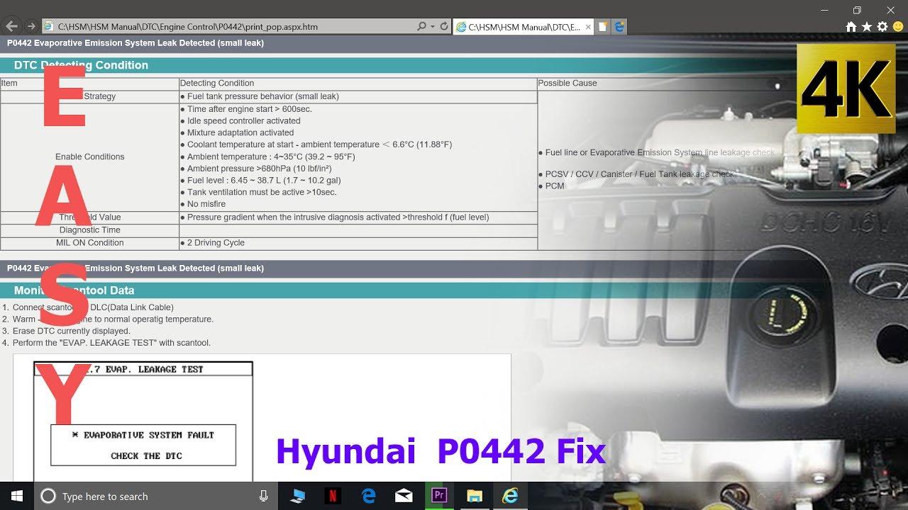 hight resolution of hyundai p0442 evaporative system small leak fix