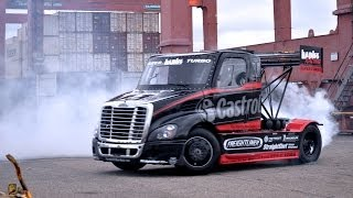 SIZE MATTERS 2 - Gymkhana style Semi Truck Drifting and JUMP by Stunt Driver Mike Ryan