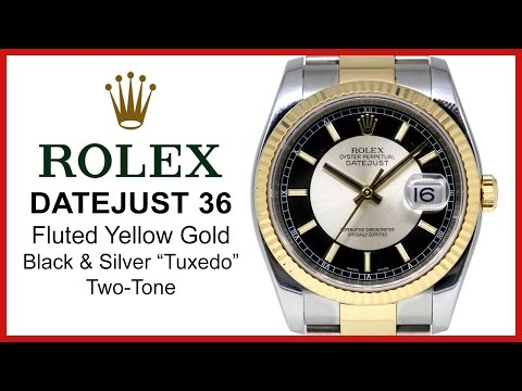 "▶ Rolex Datejust 36, Black & Silver Index ""Tuxedo"" Dial, Two-Tone REVIEW 116233-BKSSFO"