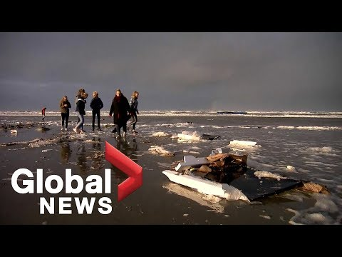 Boxes of electronics wash ashore on Dutch island after accident involving cargo ship