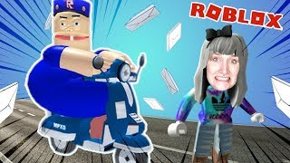 Roblox: BÖSEM POSTBOTEN ENTKOMMEN - Nina escapes from post office - ESCAPE THE MAIL MAN OBBY