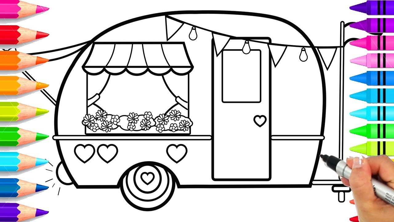 How to Draw a Cute Camper for Kids Step by Step  Cute Camping Coloring  Pages  How to Draw an RV