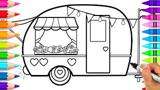 How to Draw a Cute Camper for Kids Step by Step | Cute Camping Coloring Pages | How to Draw an RV