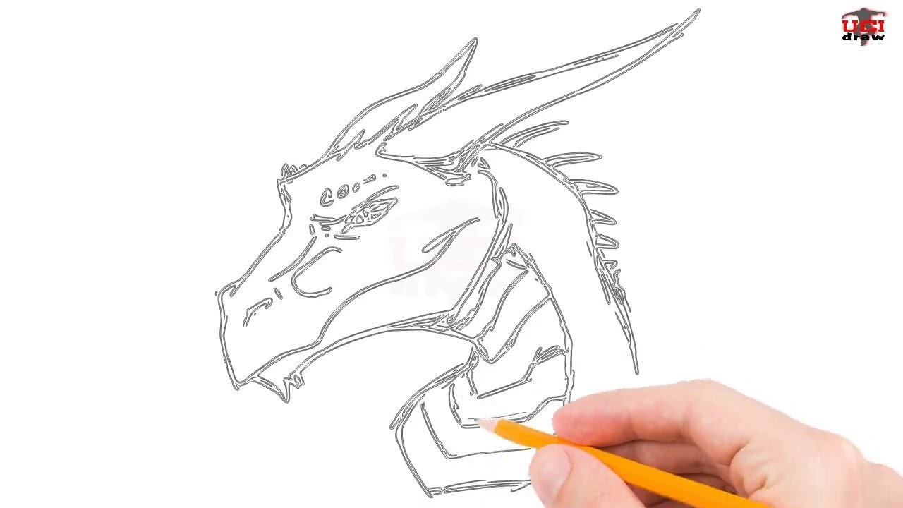 How to draw a dragon head step by step easy for beginners kids simple dragon drawing tutorial
