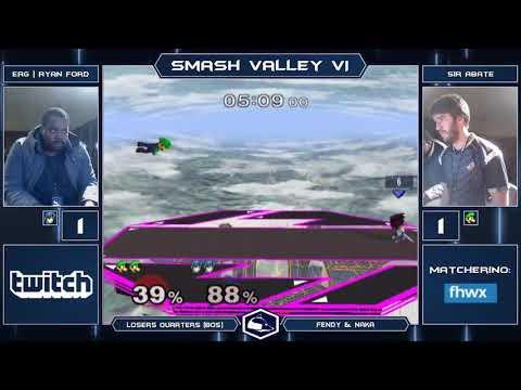 Smash Valley VI Melee Singles - ERG | Ryan Ford (Fox/Marth) vs Sir Abate (Luigi) - Losers Quarters