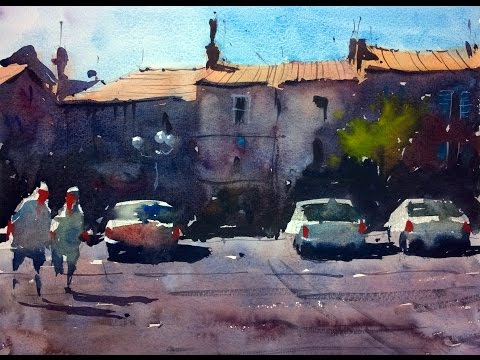 Watercolour demonstration by Tim Wilmot - How to paint a French Town Scene with Cars #4