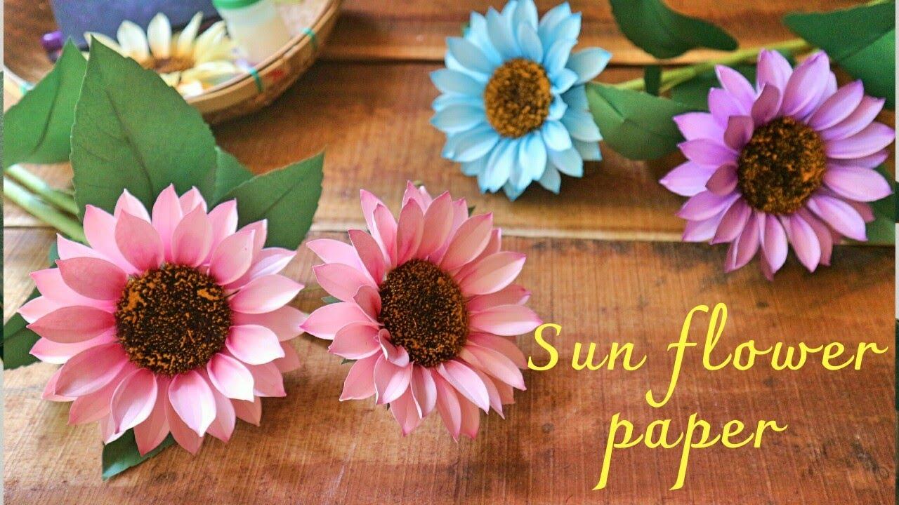 oaihuong handmade/ Hướng dẫn làm hoa hướng dương bằng giấy mỹ thuật /diy
