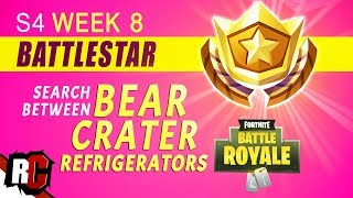 Fortnite | WEEK 8 Battle Star Location (Search Between a Bear, Crater, and a Refrigerator Shipment)