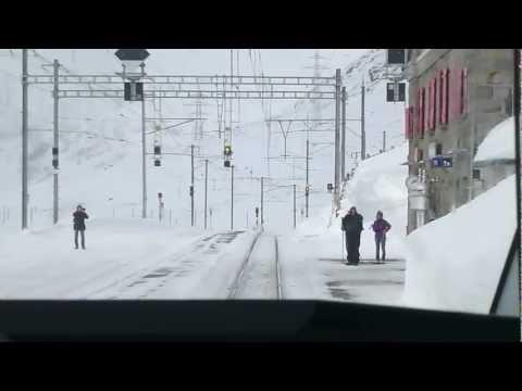 Swiss Trains: Bernina Pass, Alp Grüm-Ospizio cab view