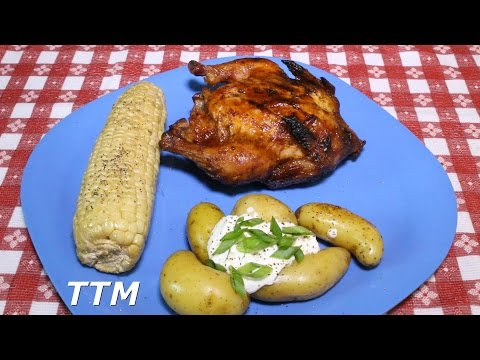 How To Cook Chicken Dinner On The Weber Kettle Grill~BBQ Game Hens, Potatoes And Corn