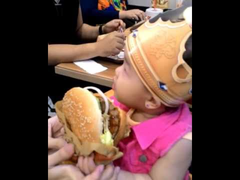 Baby eating Burger King Whopper challenge