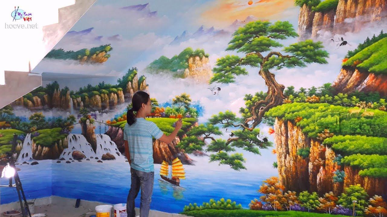 vẽ tranh tường 3d - Phong cảnh sơn thủy. (Nhận dạy vẽ, Thi công vẽ tranh tường ĐT: 0969.033.288).