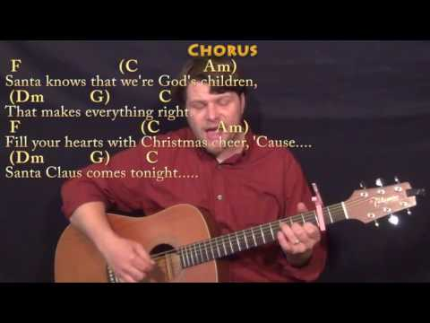 Here Comes Santa Claus (Elvis) Fingerstyle Guitar Cover Lesson with Chords/Lyrics