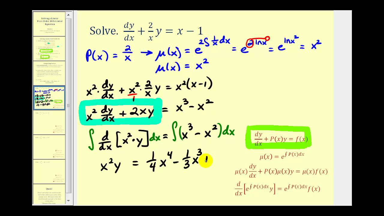 Solving Linear First Order Differential Equations Youtube
