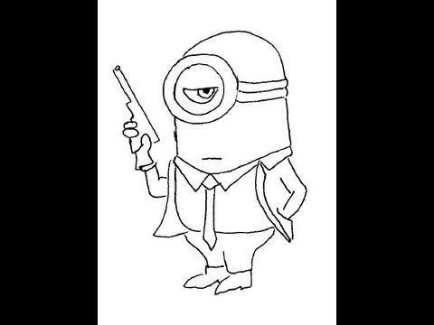 Secret Agent 007 Minion. Despicable Me. How to draw a easy