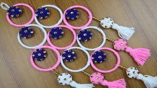 How to make door hanging with bangles || Best reuse ideas - Best out of waste - Woolen Craft ideas