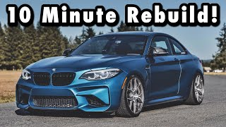 Rebuilding A Wrecked Salvage Auction 2018 BMW M2 in 10 MINUTES like THROTL (FIRST IN THE WORLD)