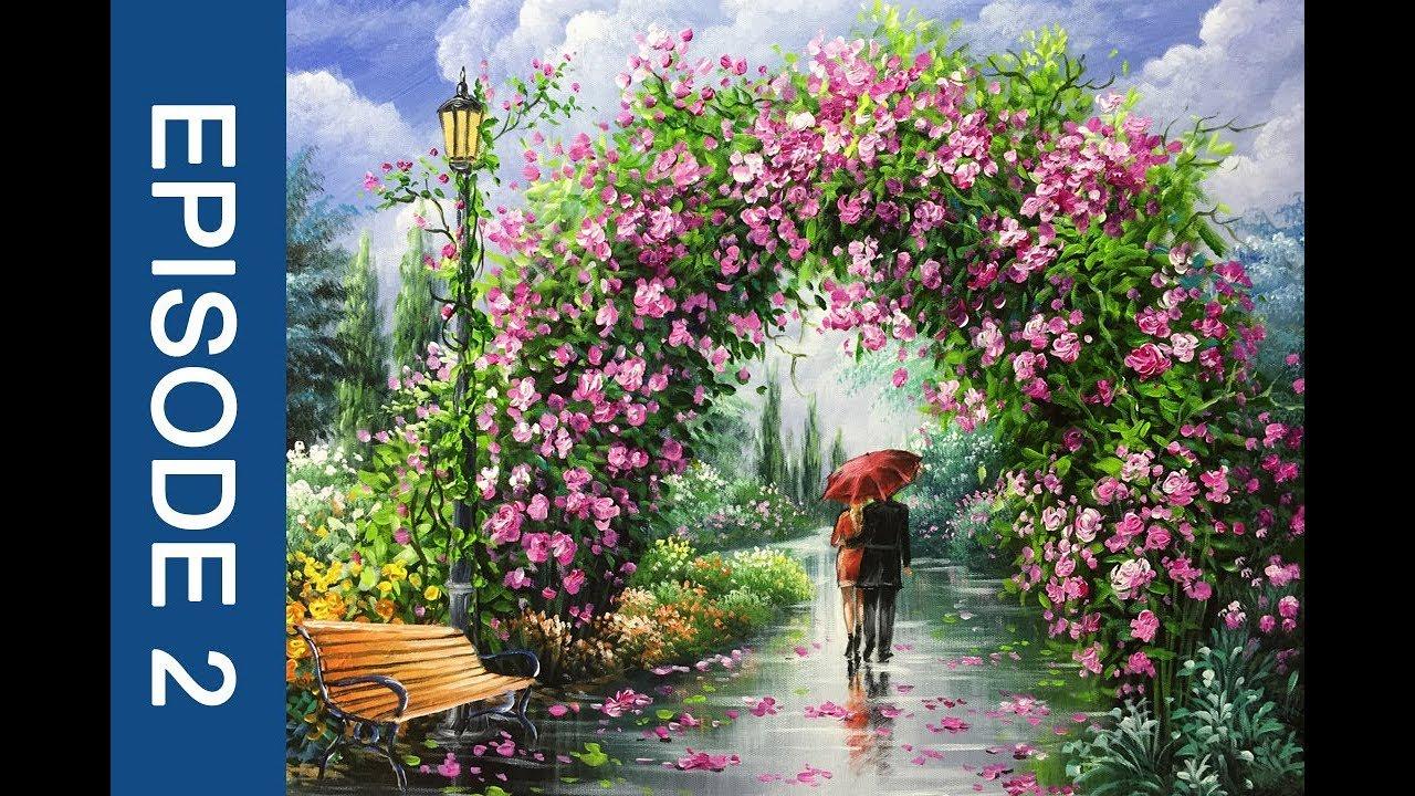 Couple Walking Through Flower Arch
