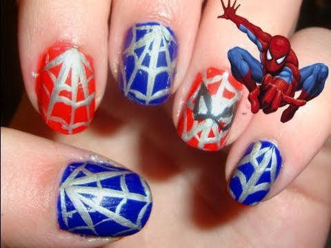 Spider man nail art youtube spider man nail art prinsesfo Choice Image