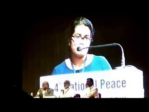 "Aiswarya T Anish speaking on"" World Peace through Mahatma Gandhi"""