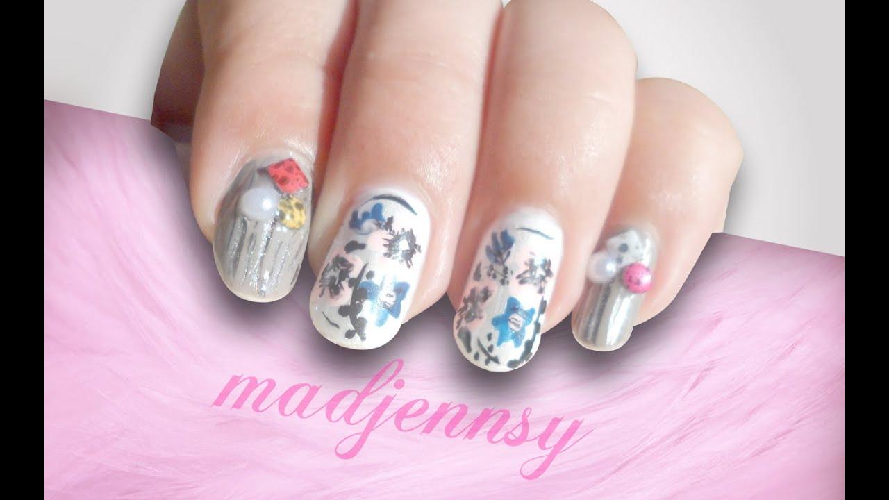 Nail Art - Diseño de uñas Floral estilo Japonés - YouTube - photo#8