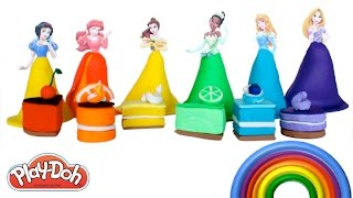 Disney Princess Learn Colors and Shapes with Play Doh Cakes Learning Colours