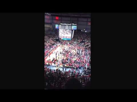 Nebraska Court Storm Versus Ohio State (slow-motion)