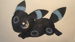 UMBREON ~ Draw a Chibi Shiny Pokemon No.197 Tutorial ブラッキー