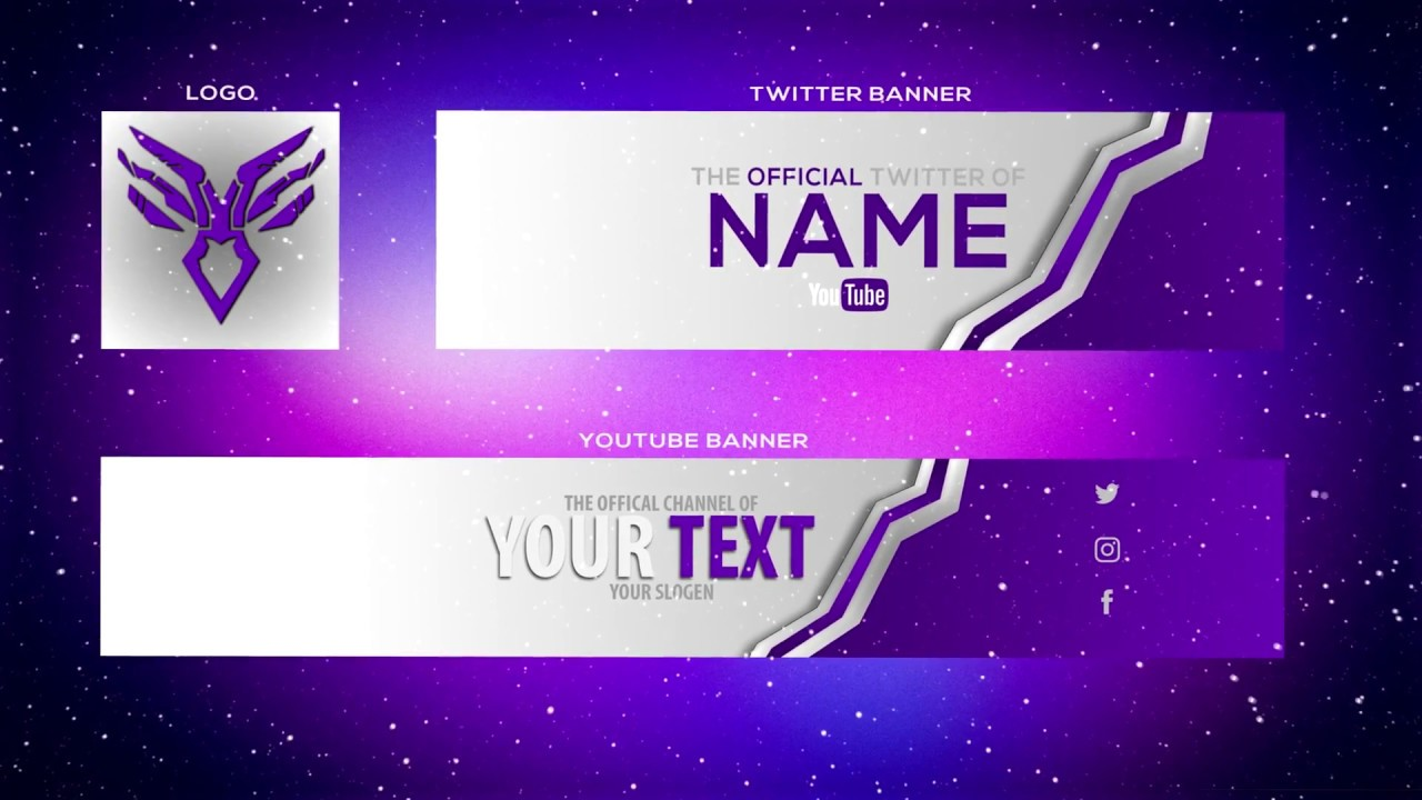 cool purple youtube banner template banner twitter header and logo psd