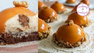 Walnut Caramel Mousse Cakes | Mousse Domes with Caramelized Walnuts and Caramel Mirror Glaze