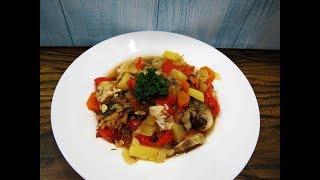 Овощное ассорти с рыбой/диетический рецепт/Vegetable assortment with fish, dietary recipe