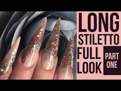Long Stiletto Glitter Nails - Full Look - Hairdresser Nail Design Part 1
