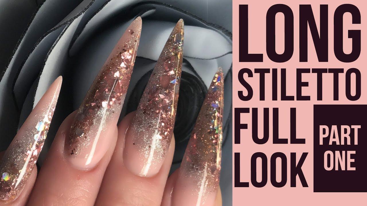 Long Stiletto Glitter Nails - Full Look - Hairdresser Nail Design ...