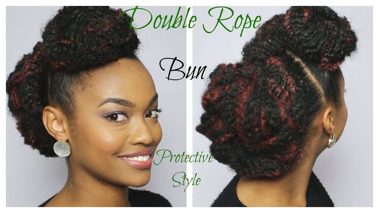 easy double rope bun with marley hair | day 2 of 12 days of christmas series