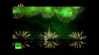 N  Korea lights up night sky with fireworks in honor of late Supreme Leader Kim Jong II