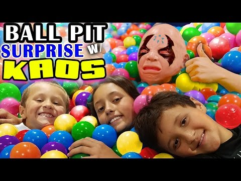 Thumbnail: BALL PIT SURPRISE! Kids Toy Diving Challenge w/ KAOS 🙎 who is a really really nice guy now! 👾