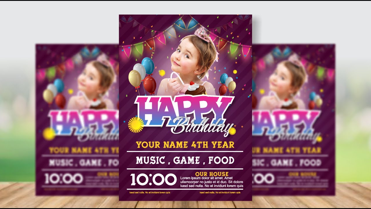Coreldraw X7 Tutorial Birthday Party Invitation Card Design A4 Size Urdu Hindi