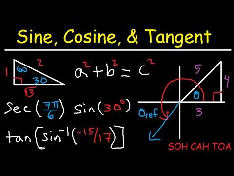Sine Cosine Tangent Explained - Right Triangle Basic Trigonometry - sin cos tan sec csc cot
