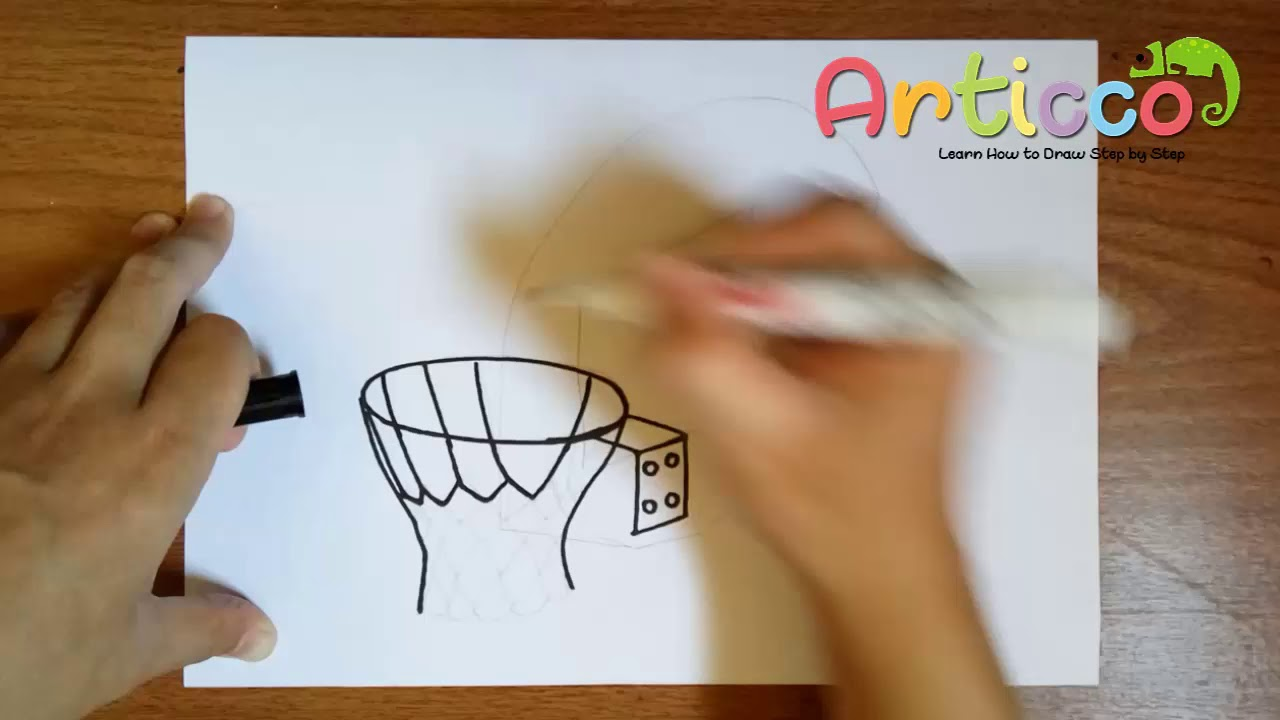 How To Draw A Basketball Hoop Step By Step Youtube