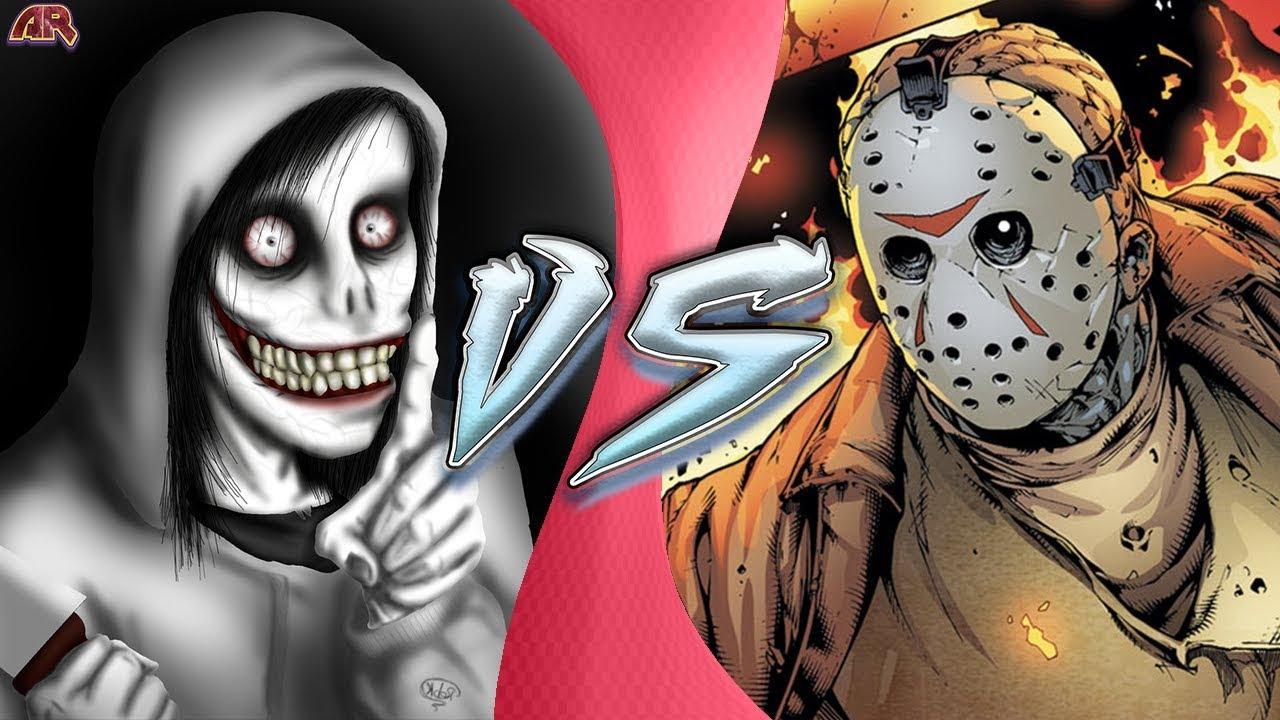 Halloween Jason Mask Cartoon.Jeff The Killer Vs Jason Voorhees Jason Vs Creepypasta Animation Cartoon Fight Club