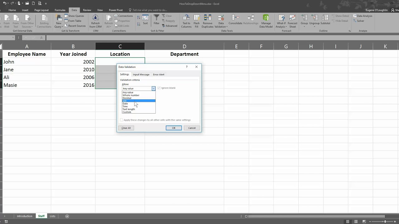 How To   Create and Manage a Drop Down Menu in Excel 2016