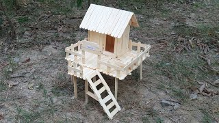 How To Make Popsicle Stick House | Ice Cream Stick House | Wooden Model House | Miniature House