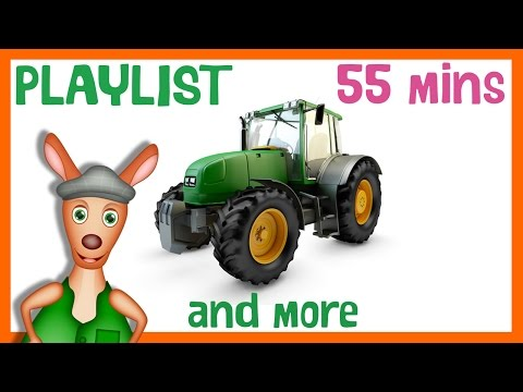TRACTORS FOR CHILDREN | Tractors and Trucks Playlist for Kids. 55mins Long.  Kindergarten learning.