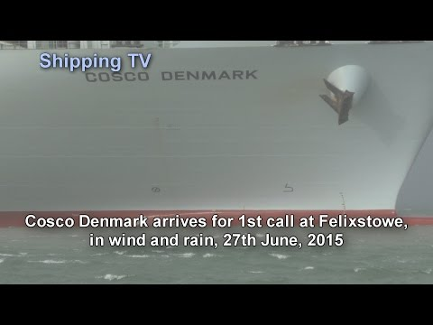 Cosco Denmark 1st call at Felixstowe in rain and wind, 27 July 2015